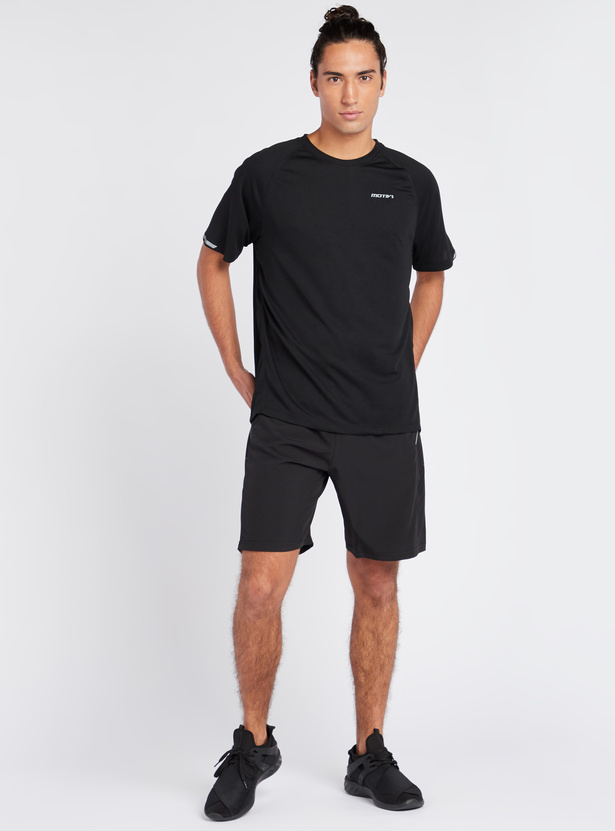 Solid Shorts with Perforations and Elasticated Drawstring Waistband