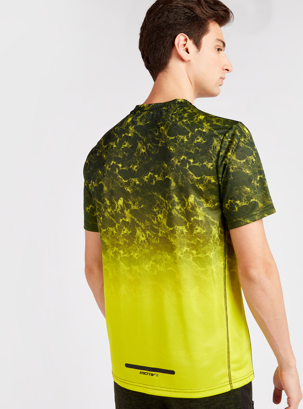 Gradient Print Round Neck T-shirt with Short Sleeves