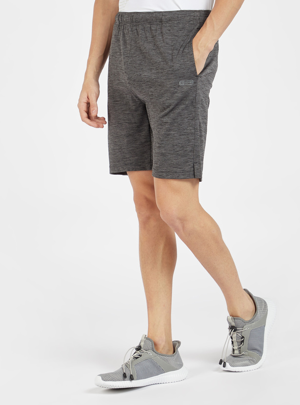 Solid Knee Length Shorts with Pockets and Elasticated Waistband