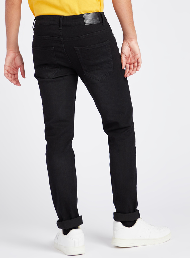 Skinny Fit Full Length Mid-Rise Jeans with 5-Pockets