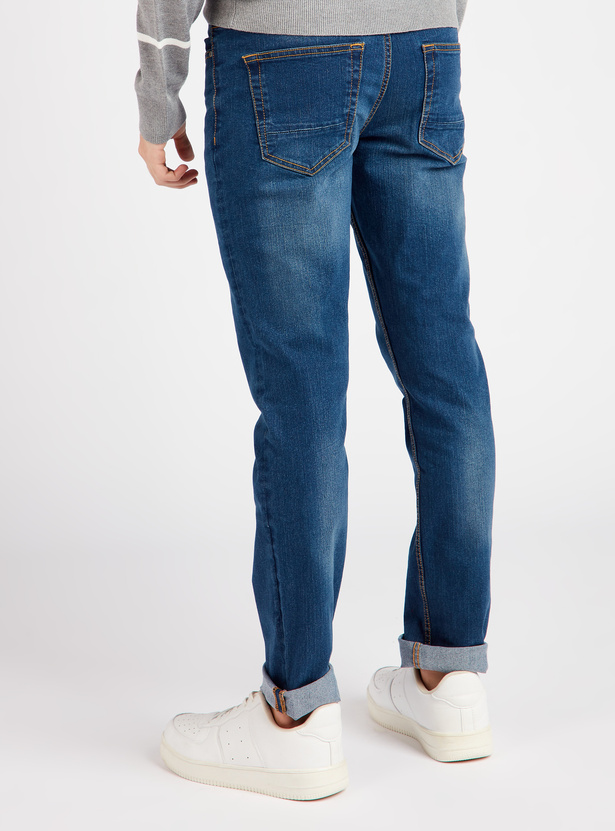 Solid Skinny Fit Full Length Jeans with Button Closure