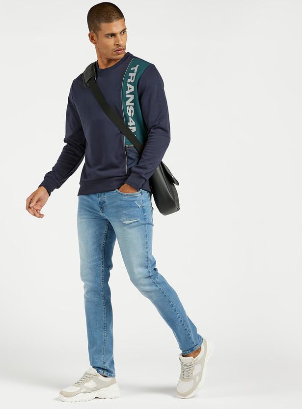 بنطلون جينز دينم مضلع بقصة سليم وخصر متوسط الارتفاع و5 جيوب