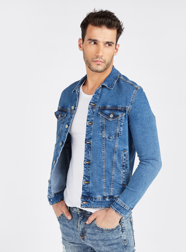 Denim Trucker Jacket with Long Sleeves and Flap Button Pockets