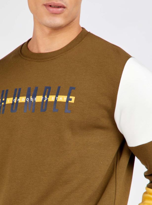 Printed Regular Fit Round Neck Sweatshirt with Long Sleeves