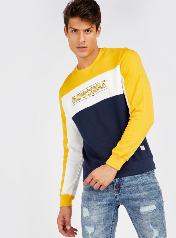 Cut and Sew Sweatshirt with Round Neck and Long Sleeves
