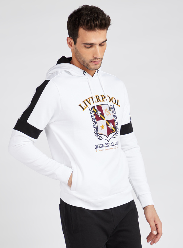 Printed Hoodie with Long Sleeves and Pockets