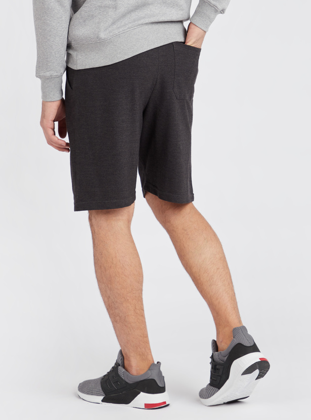 Solid Mid Rise Pique Shorts with Contrast Tipping