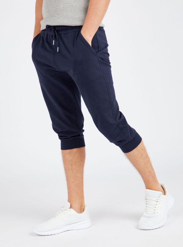 Slim Fit Mid Rise 3/4 Joggers with Pockets and Drawstring