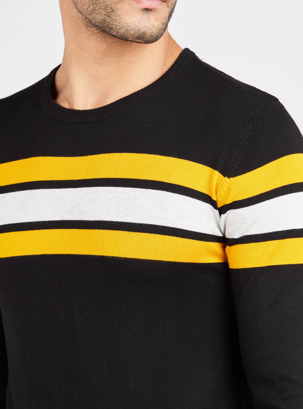 Striped Regular Fit Crew Neck Sweater with Long Sleeves