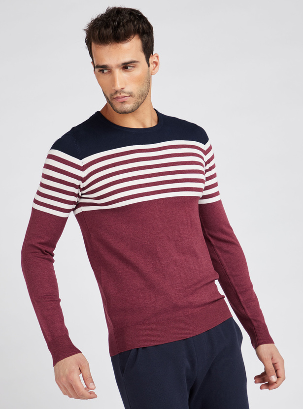 Striped Crew Neck Sweater with Long Sleeves