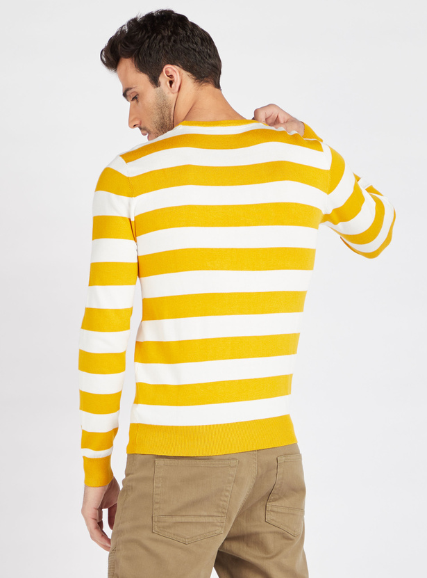 Striped Sweater with Crew Neck and Long Sleeves