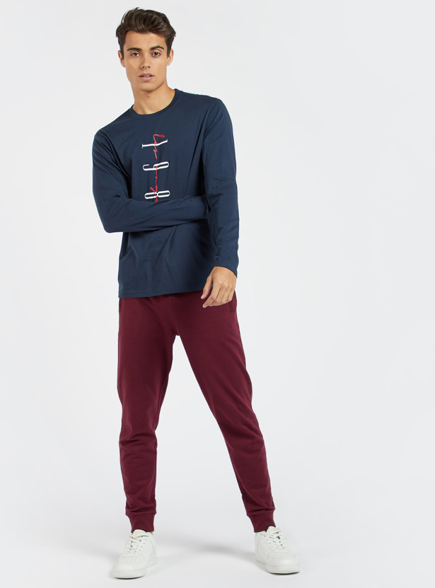 Graphic Print T-shirt with Crew Neck and Long Sleeves