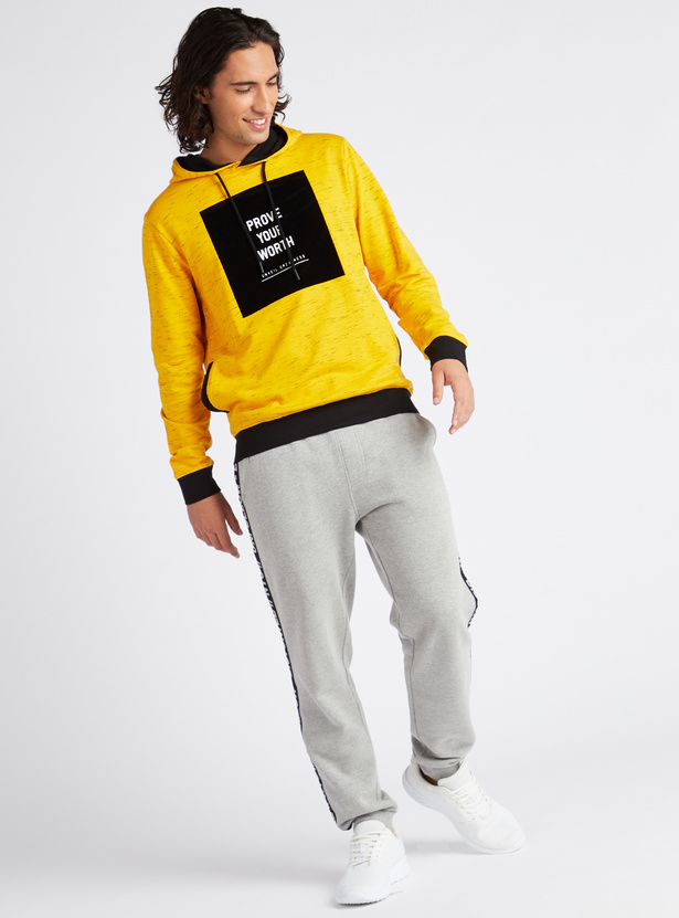Printed Hoodie with Long Sleeves and Side Zip Pockets