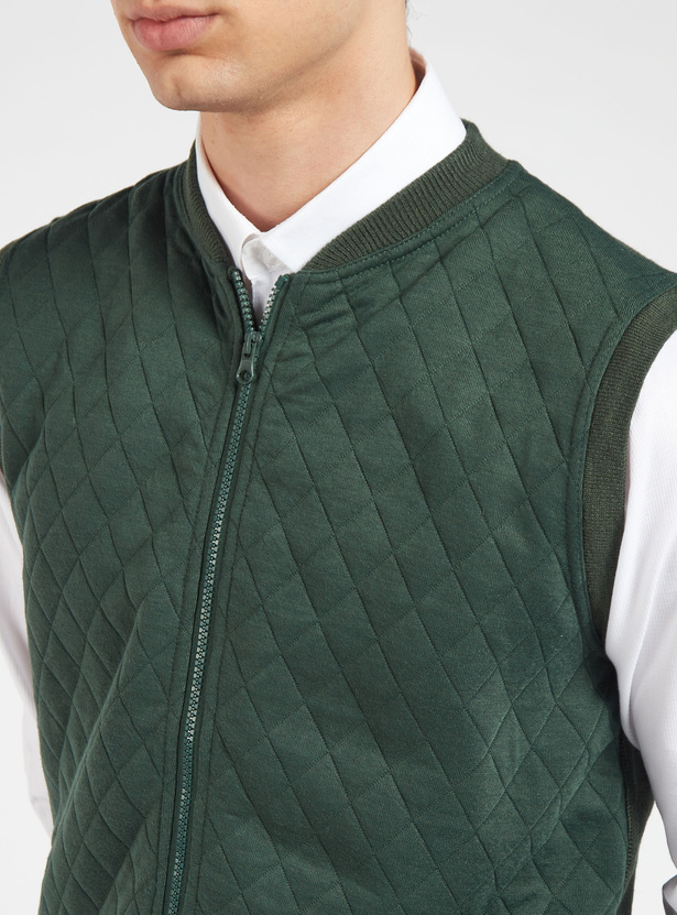 Quilted Sleeveless Sweater with Zip Closure