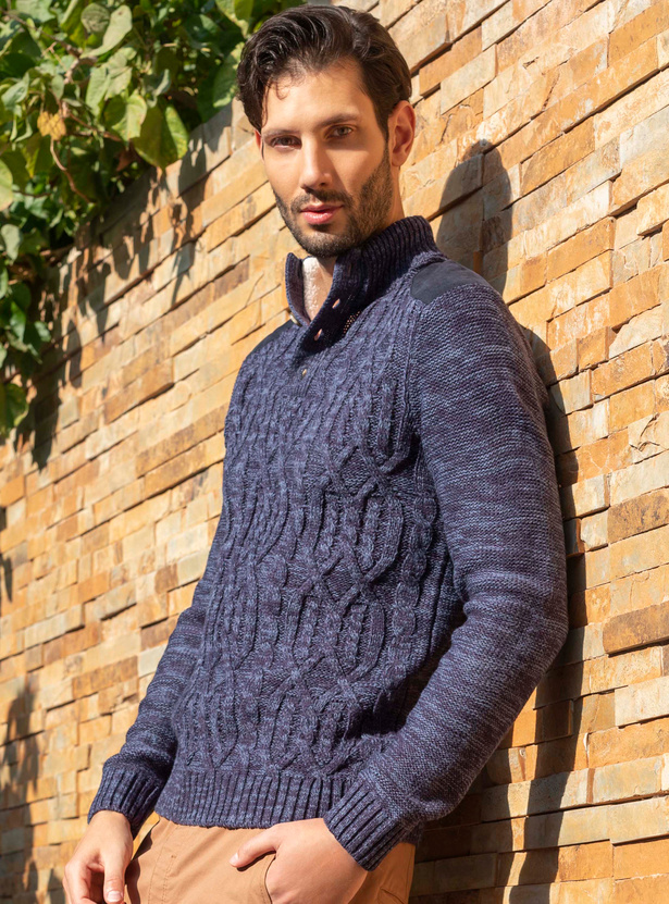 Funnel Neck Cable Sweater with Long Sleeves