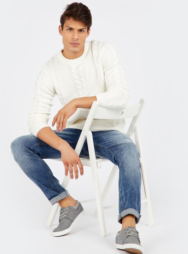Textured Round Neck Cable Sweater with Long Sleeves