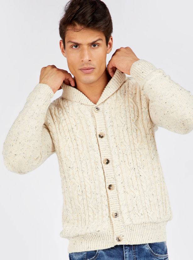 Cable Fur Lined Sweater with Long Sleeves and Button Closure