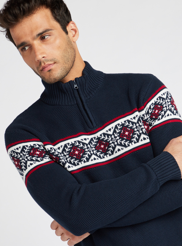 Panel Print High Neck Sweater with Long Sleeves