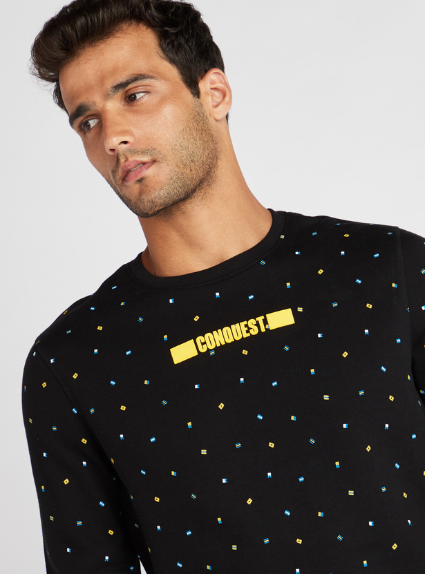 Printed Regular Fit Sweatshirt with Round Neck and Long Sleeves
