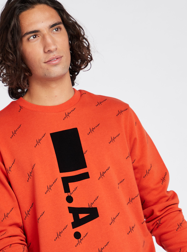 Graphic Print Sweat T-shirt with Round Neck and Long Sleeves
