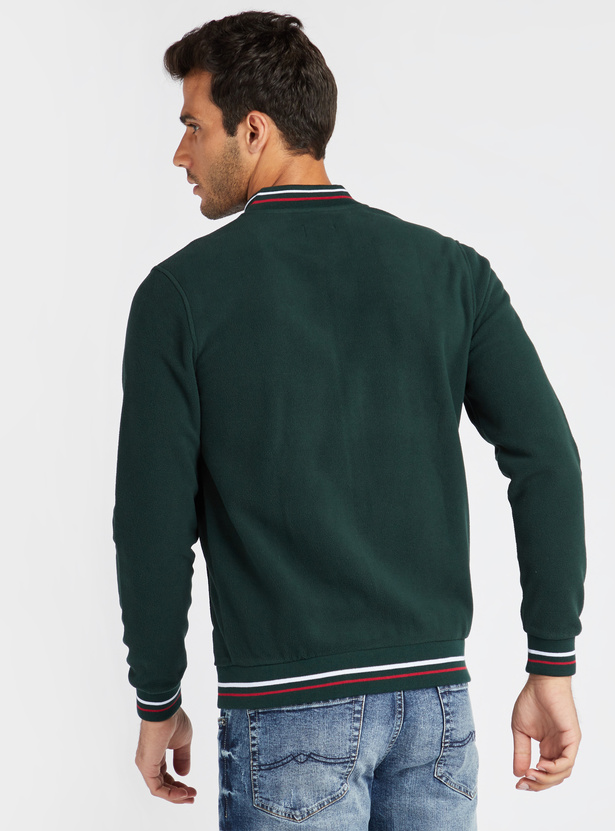 Solid Regular Fit Ribbed Collar Bomber Jacket with Zip Closure