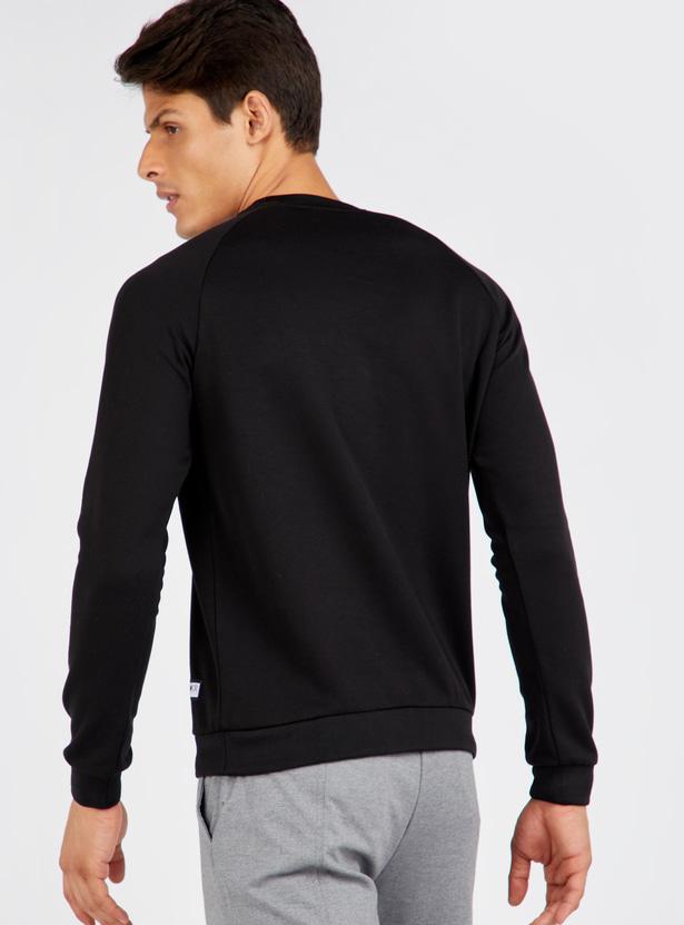 Typographic Print Raglan Seam Sweatshirt with Long Sleeves