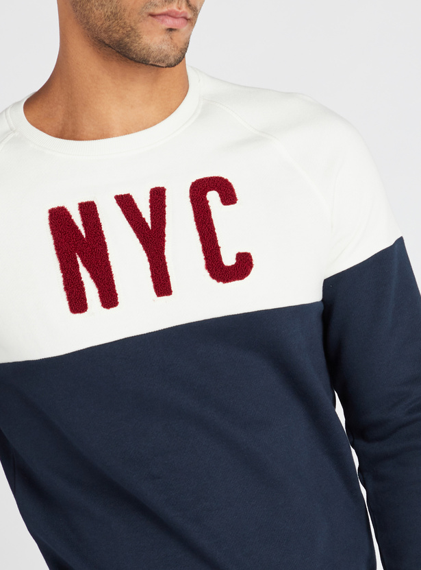 Embroidered Regular Fit Round Neck Sweatshirt with Long Sleeves