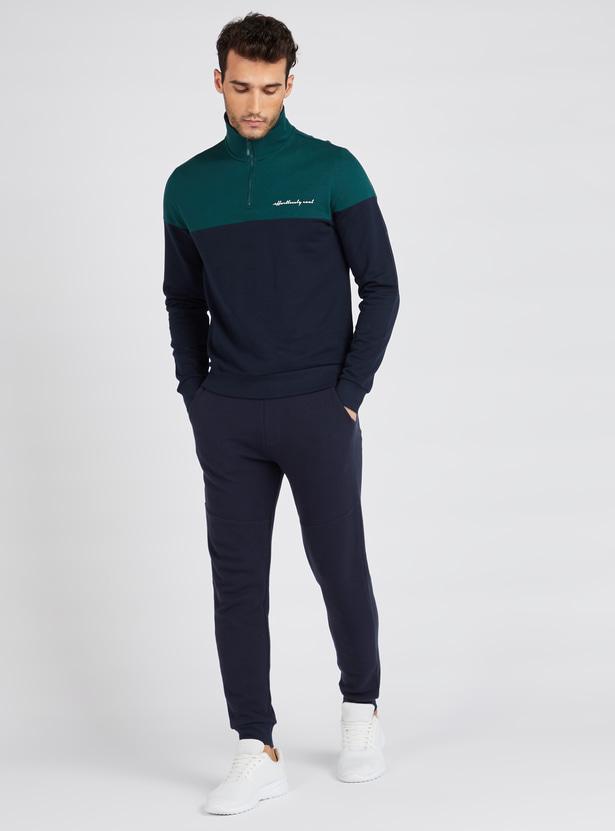 Colourblock Polo Sweatshirt with Half Zip and Long Sleeves