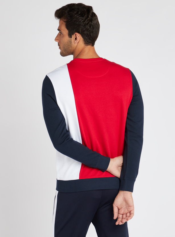 Cut and Sew Printed Sweatshirt with Long Sleeves