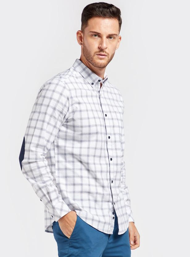 قميص أكسفورد كاروهات بأكمام طويلة ورقعة على الكوع