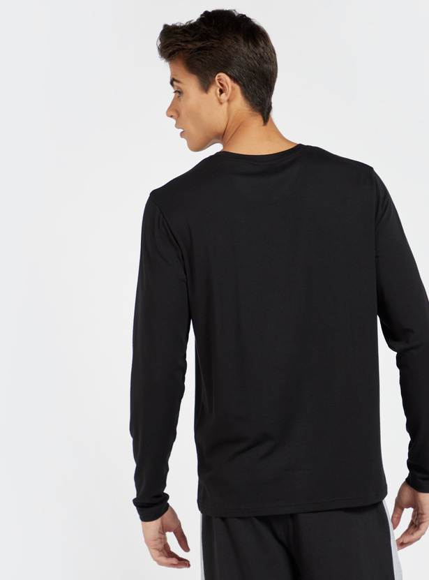 Solid Sleepshirt with Crew Neck and Long Sleeves