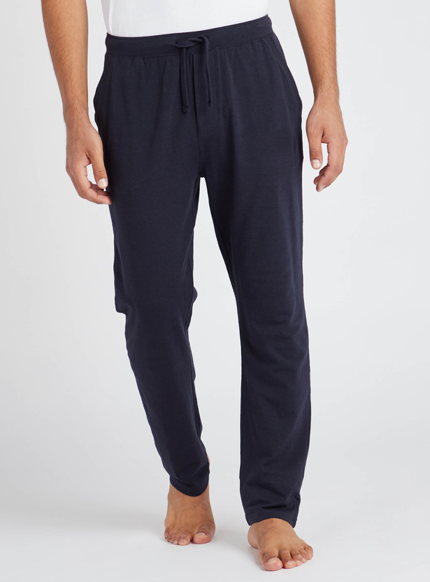 Full Length Solid Lounge Pants with Pockets and Drawstring
