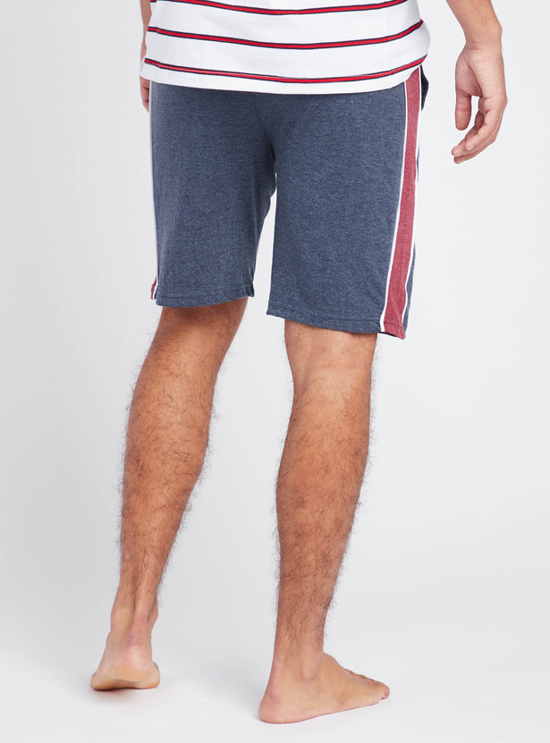 Solid Lounge Shorts with Side Tape Detail and Pockets