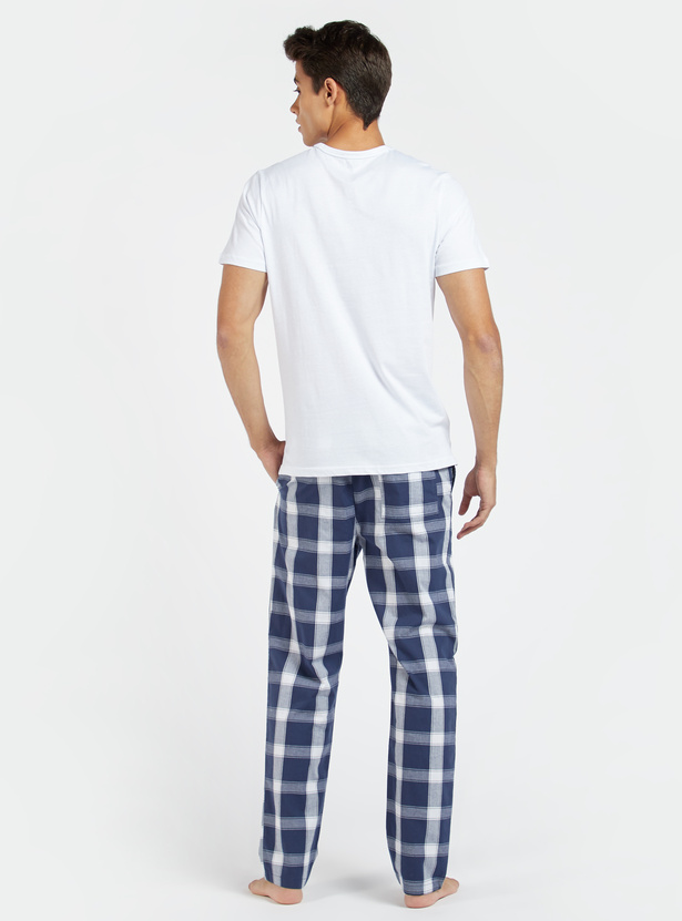 Printed Crew Neck T-shirt and Full Length Pyjama Set