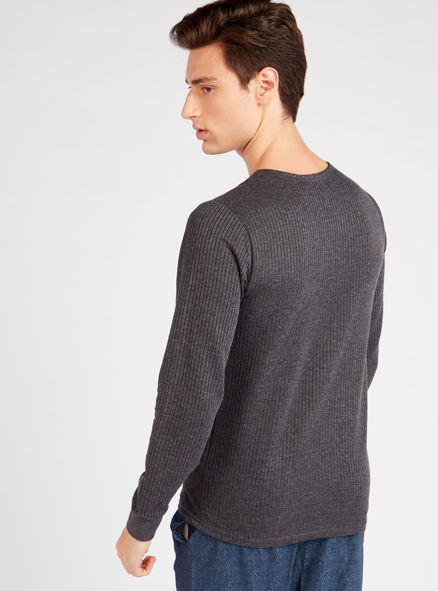 Textured Round Neck T-shirt with Long Sleeves