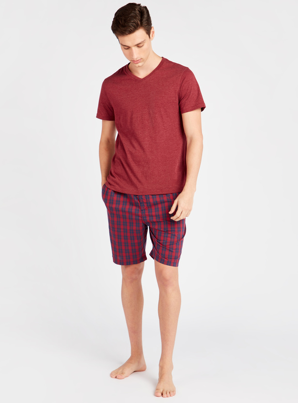 Chequered Shorts with Pockets and Drawstring
