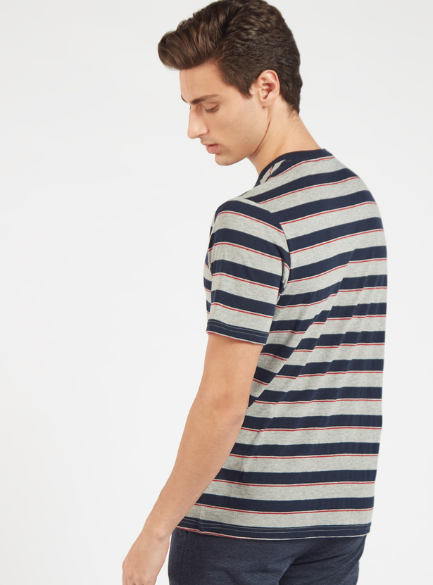 Striped V-neck T-shirt with Short Sleeves