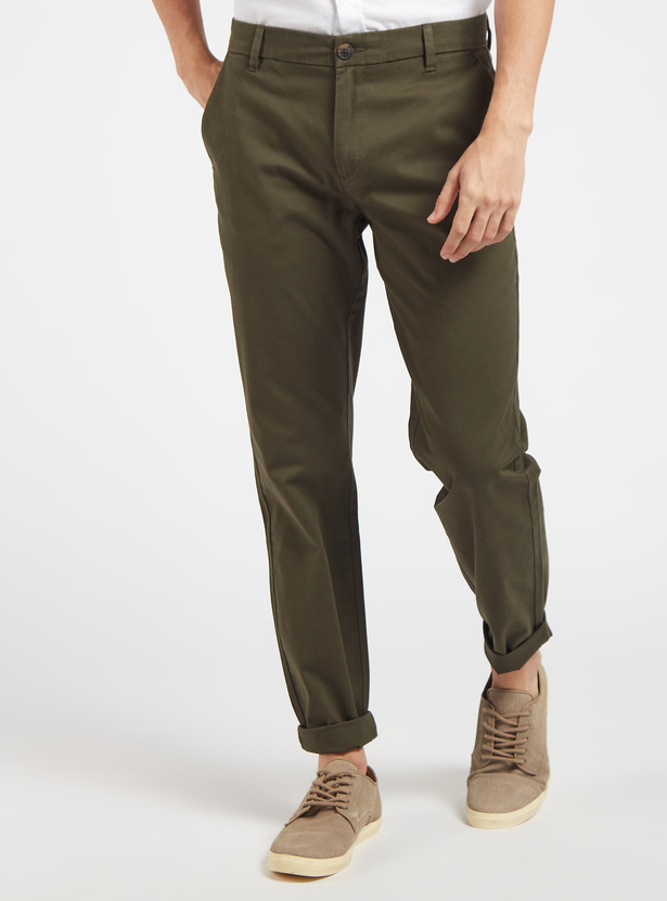 Solid Full Length Chinos with Button Closure and Belt Loops