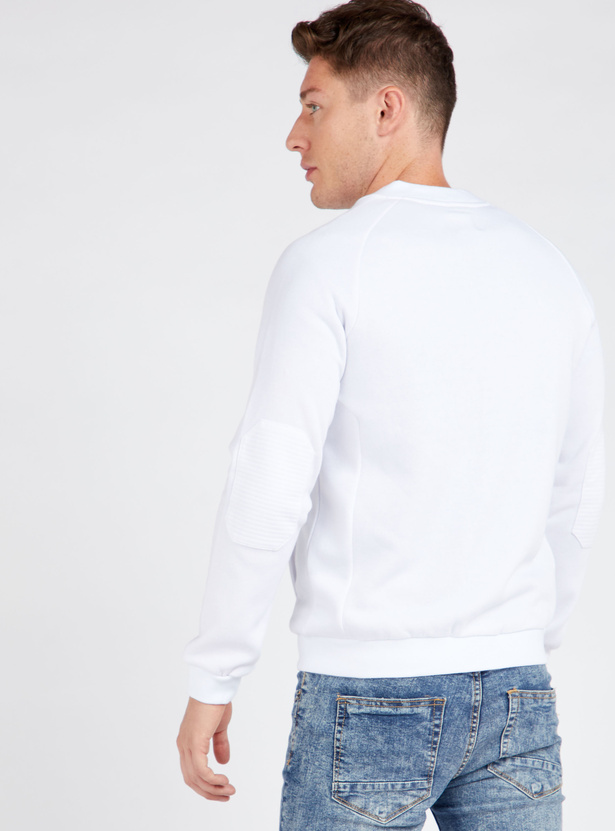 Textured Bomber Jacket with Pockets and Long Sleeves