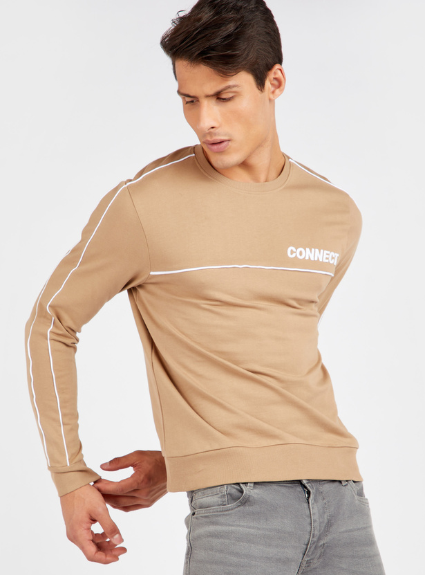 Slim Fit Sweatshirt with Piping Detail and Long Sleeves