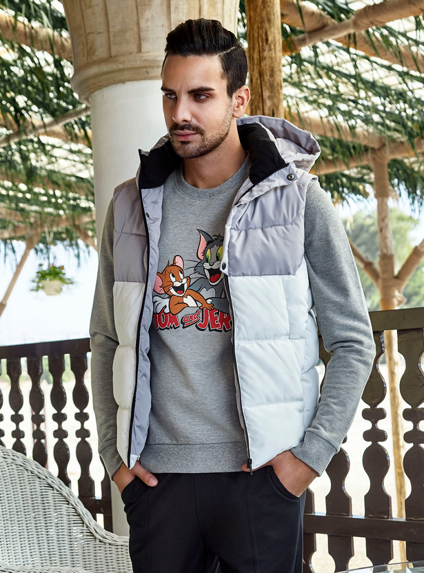 Panelled Sleeveless Puffer Jacket with Zipper and Hood