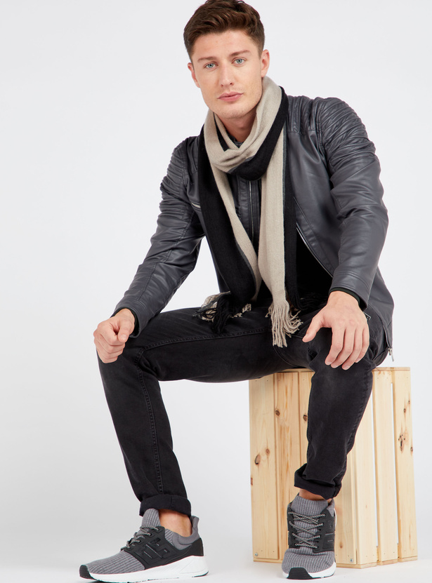 Solid Biker Jacket with Shoulder Panel Detail and Long Sleeves