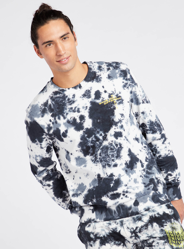 Tie-Dye Print Sweatshirt with Round Neck and Long Sleeves