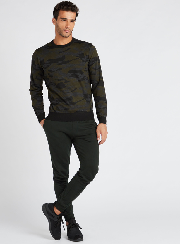Camouflage Print Slim Fit Round Neck Sweater with Long Sleeves