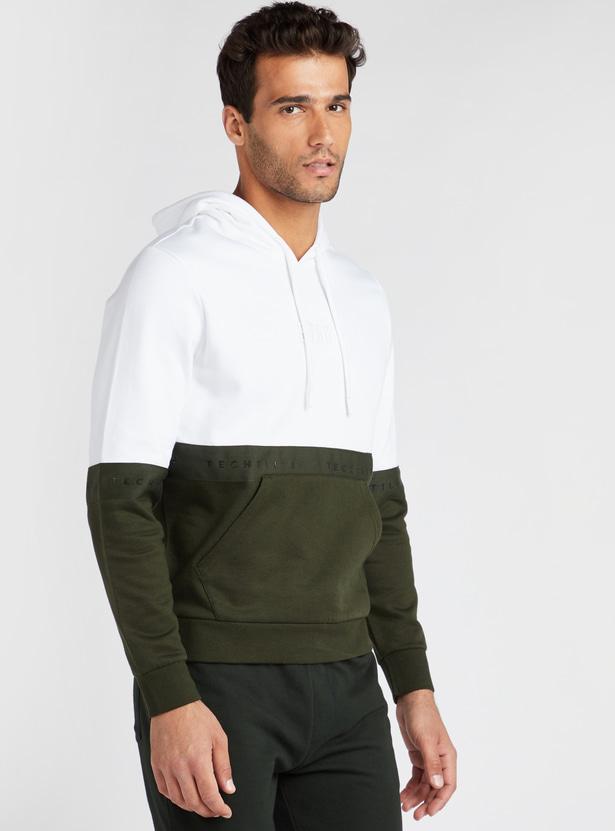 Slim Fit Colour Block Sweatshirt with Hood and Kangaroo Pockets