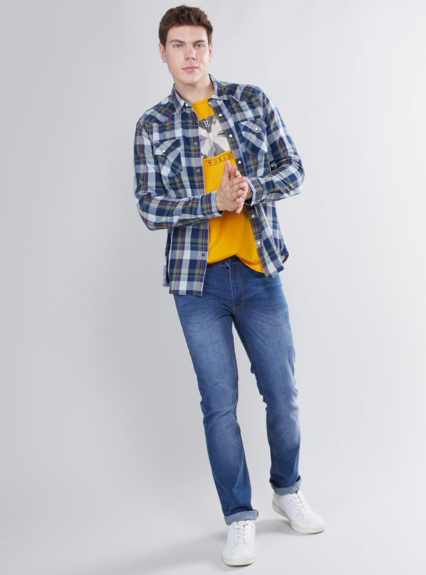 Skinny Fit Jeans with 5-Pockets and Button Closure
