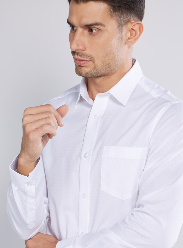 Plain Button Through Shirt with Long Sleeves and Patch Pocket