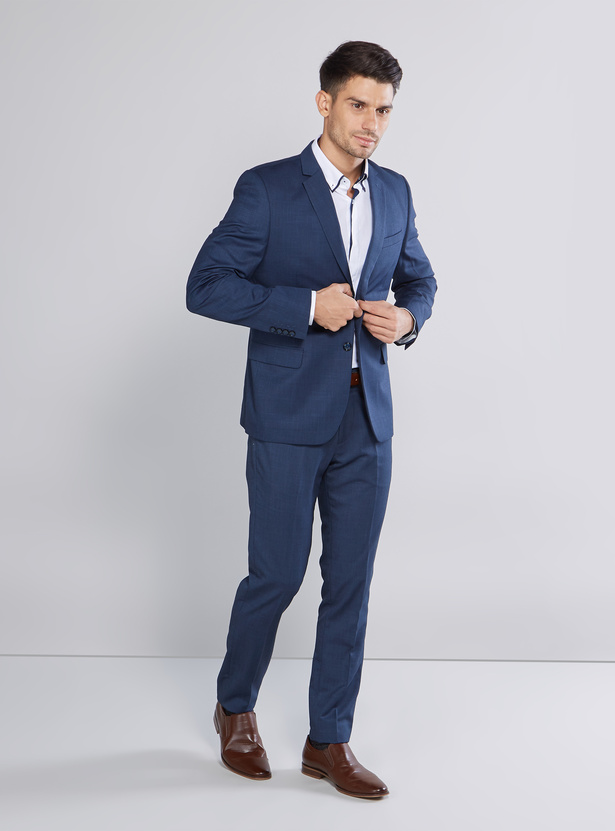 Slim Fit Plain Shirt with Spread Collar and Long Sleeves