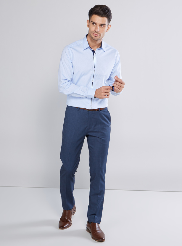 Slim Fit Plain Formal Shirt with Long Sleeves and Spread Collar