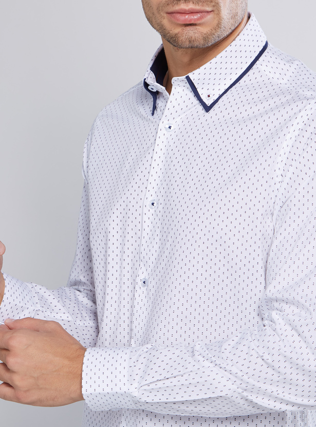 Slim Fit Printed Shirt with Long Sleeves and Complete Placket